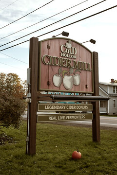 Waterbury, Vermont - September 29th, 2019: Wooden sign at entrance to Cold Hollow Cider in Waterbury, Vermont.
