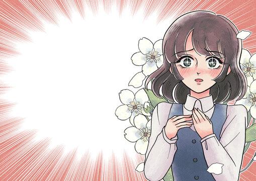 レトロ少女漫画風・赤面して驚くお姉さん・集中線背景・花を背負う