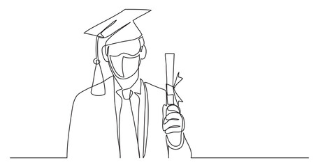 Wall Mural - happy graduate wearing face mask with diploma - continuous line drawing