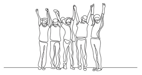 Wall Mural - continuous line drawing of happy joyful children wearing face masks