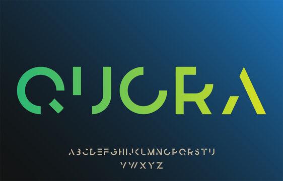 incomplete minimal cut alphabet lettering font family