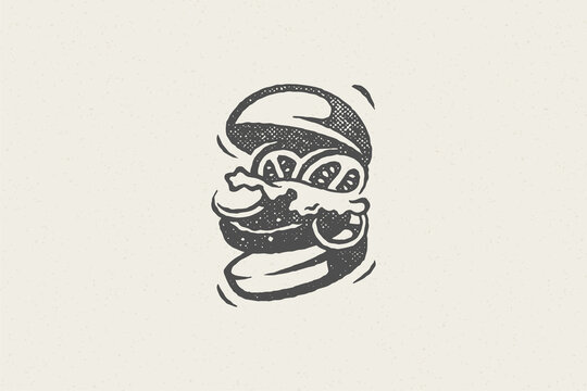 Burger silhouette as logo fast food service hand drawn stamp effect vector illustration.