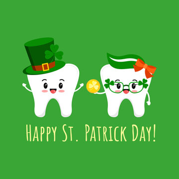 St Patrick day teeth in leprechaun hat with shamrock and glasses with gold coin. Dental tooth irish character with lucky money, clover on green hat. Flat cartoon vector Happy paddy's day illustration.