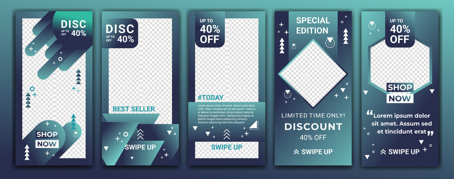 Set of social media Ig networks stories sale banner background with creative gradient colored. Editable template design for ig story, ig frame, poster, coupon, gift card. Vector illustration