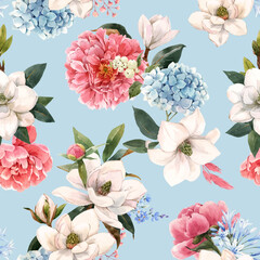 Beautiful vector seamless pattern with hand drawn watercolor gentle white magnolia and hydrangea flowers. Stock illustration.