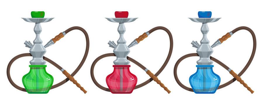 Hookah vector image. Relaxing smoking. Hookah logo design, label, badge. Relaxation. Logo for printing. Hookah Smoking. Vector graphics to design.