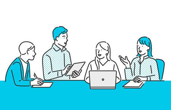 チームでミーティングをするビジネスパーソンのイメージイラスト素材
