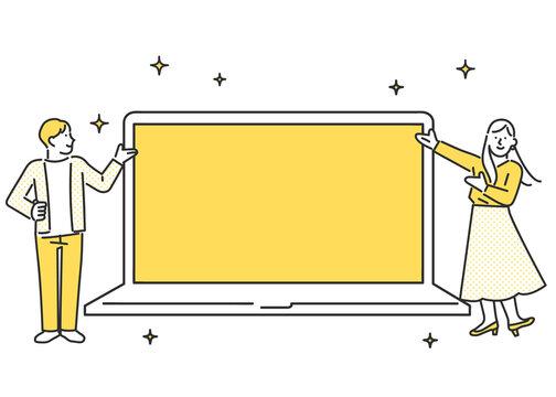 パソコンの画面を紹介する男女のイメージイラスト素材