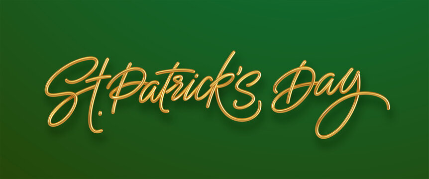 Golden realistic lettering Happy St. Patricks Day isolated on green background. Design element for poster, banner Happy Patrick. Vector illustration
