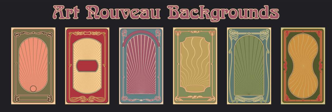 Art Nouveau Backgrounds, Frames, Poster Templates 1900s - 1920s Style