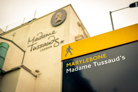 London-: Madame Tussauds exterior signage- a wax museum and popular tourist attraction in Marylebone