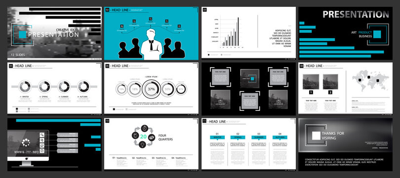 Business presentation template, blue and black infographic elements on white background. Business trip around the city. Vector slide, business project presentation and marketing, monitor, computer