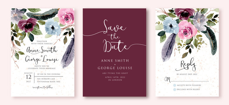 wedding invitation set with rustic floral and feather watercolor
