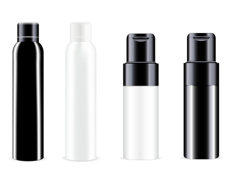 Spray bottle. Vector can, aluminum tin deodorant blank. Cosmetic spray container mockup. Realistic aluminium freshener tube mock up. Round refresher package. Toilet odor or antiperspirant