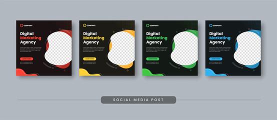 Fototapeta Digital marketing agency social media post template