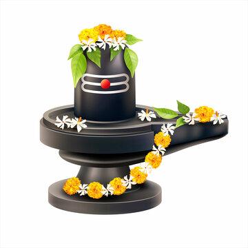 Lord Shiva Lingam decorated with bilva (bael) leaves, parijat and zendu flowers. Vector illustration.