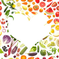 Fototapete - Heart shaped frame from various vegetables and fruits isolated on white background, top view, creative flat layout. Concept of healthy eating, food background.