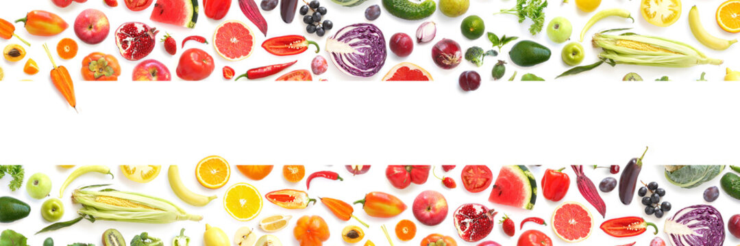 Frame from various vegetables and fruits isolated on white background, top view, creative flat layout. Concept of healthy eating, food background.