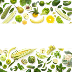 Fototapete - Frame from various vegetables and fruits isolated on white background, top view, creative flat layout. Concept of healthy eating, food background.