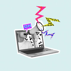 Shouting out your own thoughts online. Man with megaphone in laptop. Modern design, contemporary...