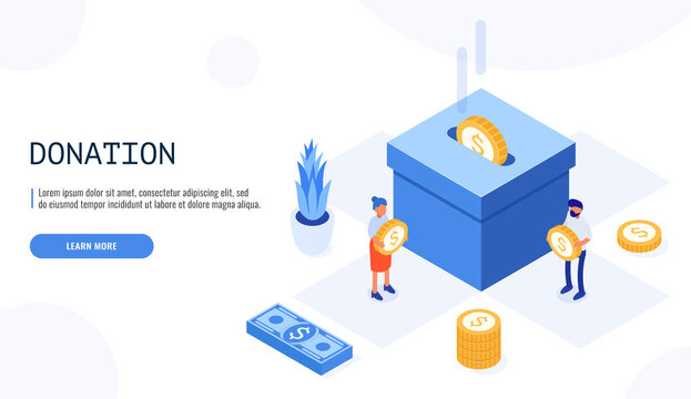 People character donate money for charity. Big box with money. Users are holding coins. Web banner, infographics. Isometric vector illustration.