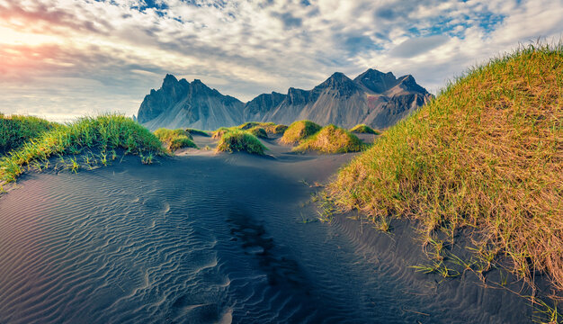 Beautiful summer scenery. Picturesque summer view of Stokksnes cape with Vestrahorn (Batman Mountain) on background. Icelandic landscape with black sand dunes and grass on top.