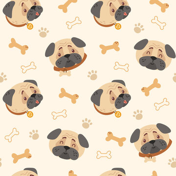 Baby pugs kids seamless pattern, Dogs faces Funny puppy and bones digital paper, seamless background with cartoon baby animals or pets for nursery textile, scrapbook, wrapping