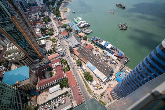 Aerial view of Dar Es Salaam capital of Tanzania in Africa