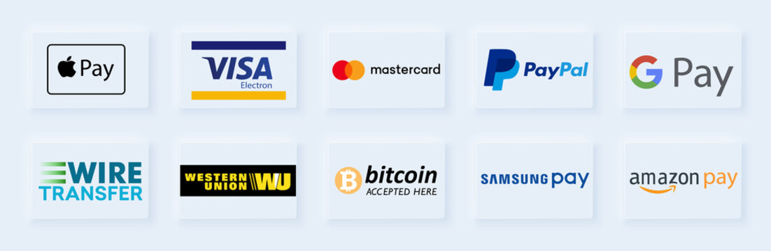 Payment method and option or channel to transfer money. Apple, visa, mastercard, wire transfer, paypal, bitcoin, western union, samsung, google, amazon. Vector illustration