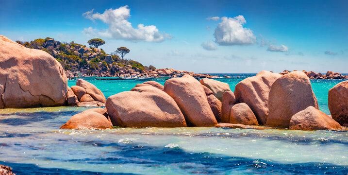 Beautiful marine scenery. Panoramic summer view of Santa Giulia beach. Attractive morning scene of Corsica island, France, Europe. Wonderful Mediterranean seascape.