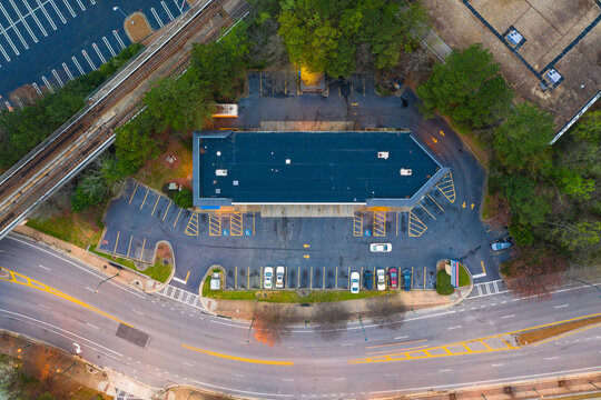 Aerial view of the parking lot near the supermarket mall in Atlanta downtown in Georgia, United States of America.
