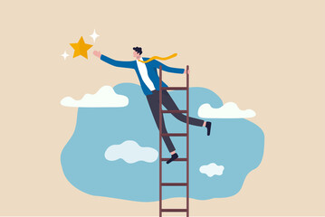 Fototapeta Business opportunity, ladder of success or aspiration to achieve business goal concept, ambitious businessman climbing ladder to the the top and reaching for the shining star.