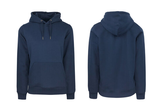 Add your own design. Navy Blue Women's Pullover Hoodie with Set-in Sleeve, cutout and Isolated on a White Background for Branding and Personalisation. Photographed on a Medium Female Ghost Mannequin.