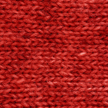 Red knitted wool texture