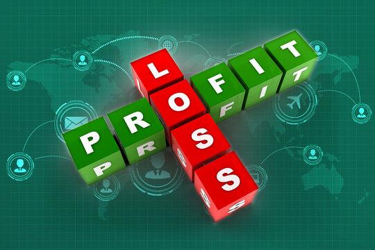 3d illustration Profit, loss crossword