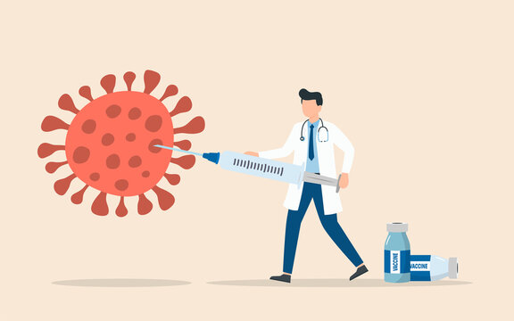 Doctor with Vaccine syringe killing COVID-19 virus, syringe immunization injection for prevention and treatment of coronavirus infection, a doctor holding a large syringe