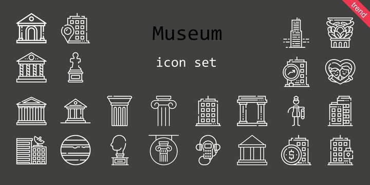 museum icon set. line icon style. museum related icons such as audio guide, venus, museum, column, parthenon, sculpture, building, bast, frame