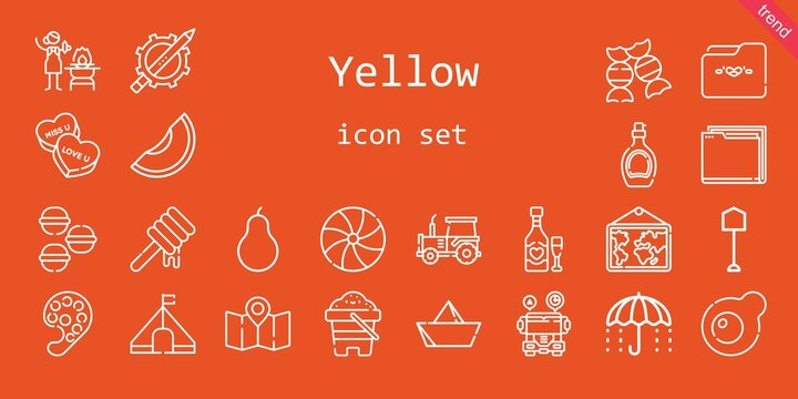yellow icon set. line icon style. yellow related icons such as tent, egg, candy, umbrella, shovel, syrup, pencil, macarons, sand, pear, folder, paper boat, honey, tractor, fire, school bus, melon