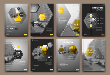 Obraz Abstract patch brochure cover design. Black info data banner frame. Techno title sheet model set. Modern vector front page art. Urban city blurb texture. Yellow citation figure icon. Ad flyer text - fototapety do salonu