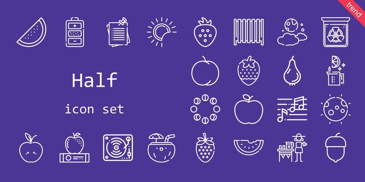 half icon set. line icon style. half related icons such as note, hazelnut, notes, moon phases, lime, strawberry, peach, lemonade, battery, coconut, eclipse, apple, moon, pear, music, radiation