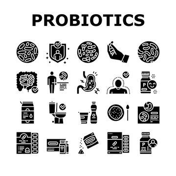 Probiotics Bacterium Collection Icons Set Vector. Dry And Liquid Probiotics, Sorption And Capsule, Lactobacillus, Bifidobacterium And Lactococcus Glyph Pictograms Black Illustrations