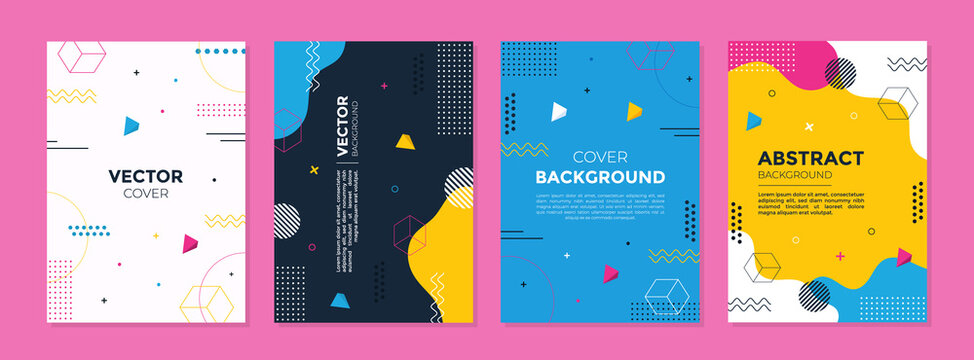 Set of abstract geometric memphis templates. Universal cover Designs for Annual Report, Brochures, Flyers, Presentations, Leaflet, Magazine.