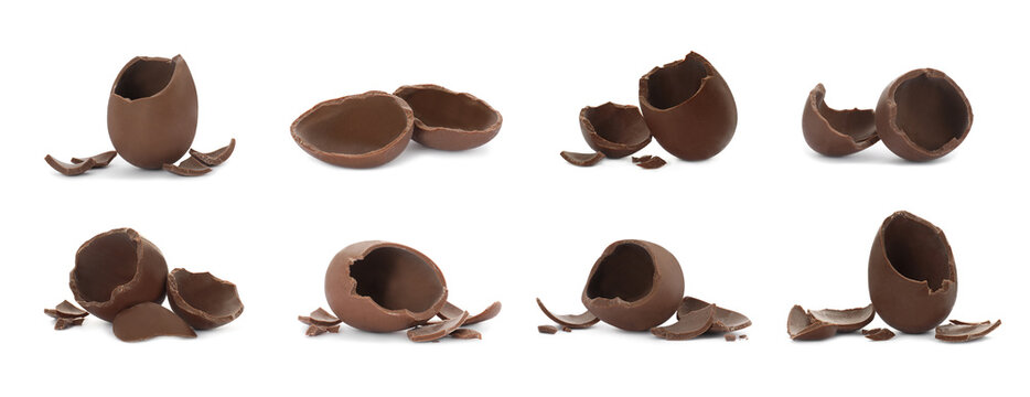 Set with broken chocolate eggs on white background, banner design