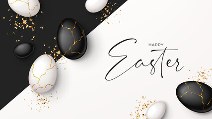 Fototapeta Happy Easter holiday banner. Top view on white and black eggs with golden liquid and golden confetti. Vector illustration with 3d decorative objects. Greeting banner.