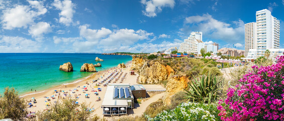 Wall Mural - Landscape with Praia dos Três Castelos, famous beach in Algarve, Portugal
