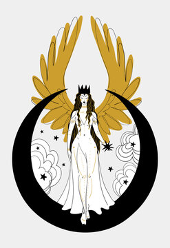 Mystical goddess woman or angel with golden wings, divine boho design. Lunar lady with a star in her hands. Heavenly hand drawn illustration isolated on white background.