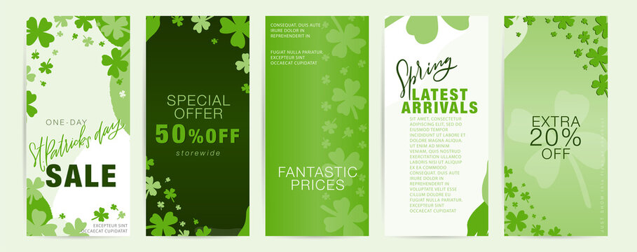 Saint Patrick's day vertical long flyer set with shamrock frames and green abstract shapes.  Spring special offer, latest arrivals business promotional materials for March 17th.