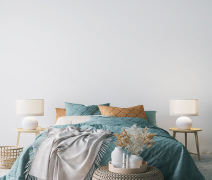 Scandinavian bedroom design, empty wall mockup in white background, 3d render