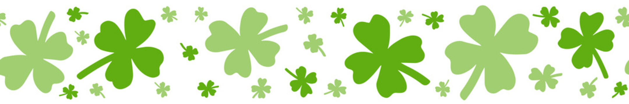 Saint Patrick's day washi tape. Spring decorative border with botanical four-leaf clover vector clipart for March 17th decoration.