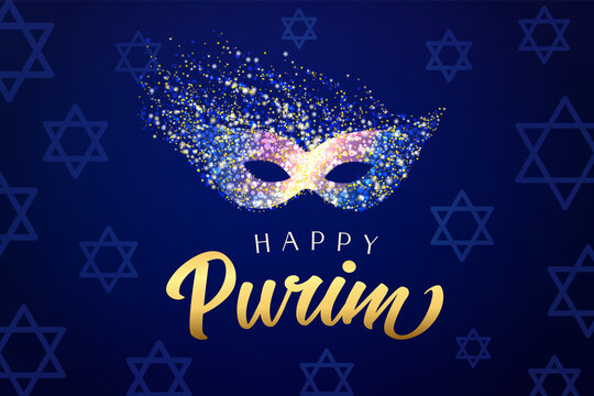 Happy Purim carnival mask with golden dust. Colored bright rainbow colors carnival mask and text, Jewish holiday vector illustration
